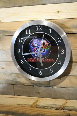 Dog'n Suds Aluminum Body Wall Clock Large 12 inch Non Ticking Sweep Hand Glass