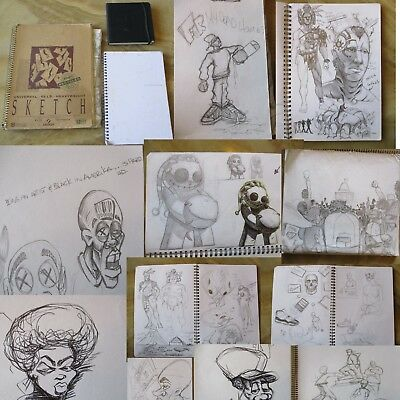Original Artist Sketch Book Urban Raw Street Drawings Graffiti (3 Bks 120 Pages)