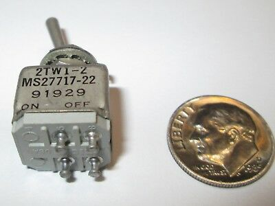 Micro Switch Mil-Spec Toggle Switch  Dpst On-None-Off 2Tw1-2, Ms27717-22   Nos