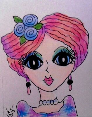 "Aceo  Original  ATC  "" SOPHIA     ""    pencil / ink"