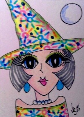 "Aceo  Original  ATC  "" WITCH ... COLORFUL    ""    pencil / ink"