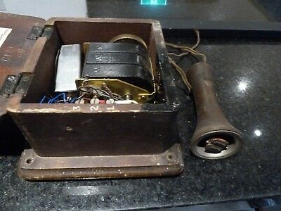 Antique SEC Hand Crank Telephone Magneto Generator In Wooden Box 1897