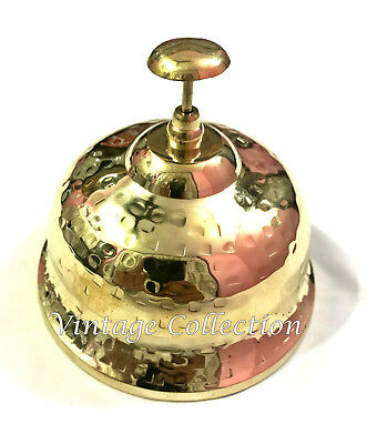 Antique Brass Reception Bell Desk Service Calling Vintage Office Table