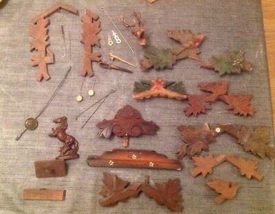 Antique Cuckoo Clock Case Parts Cuckoos Pendulums Dial Face Job Lot