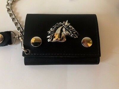 Silver color Horse Wallet Black Leather USA Hip Waist Chain Trifold Unisex New