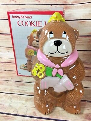 Vintage McCoy Teddy And Friend Cookie Jar In BOX #154 USA bear with yellow bird