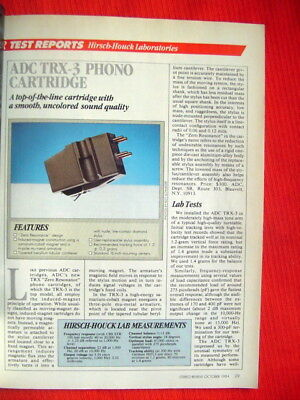 "ADC TRX-3 phono cartridge test review ""Stereo Review"" magazine 10/84"