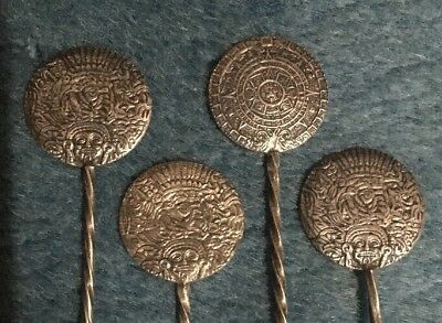Hecho En Mexico Sterling Silver Aztec Theme Seafood Forks- 4