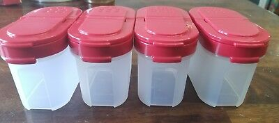 Tupperware Small Spice Shaker Set of Four (4) Red Seals New 1/2 Cup