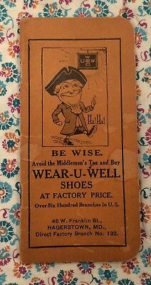 Antique Wear-U-Well Shoes Advertising Booklet/Calendar 1913/1914 Hagerstown MD