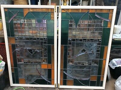 Beautiful Pair of stained glass windows/ cabinet doors