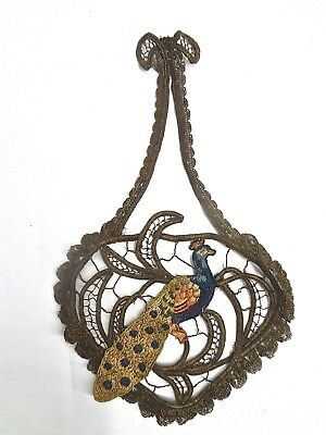 Rare Large Antique c1900 Gold Metallic Applique With Hand Embroidered Peacock