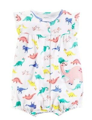 Carters Dinosaur 12 Months Snap-Up Romper 1-Piece NWT Summer Baby Girl Clothes
