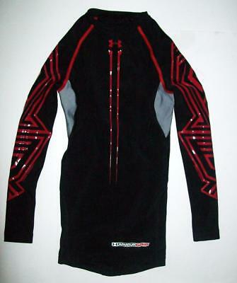 UNDER ARMOUR Boy's UA Long Sleeve Black Hockey Grippy Top Compression Size Small