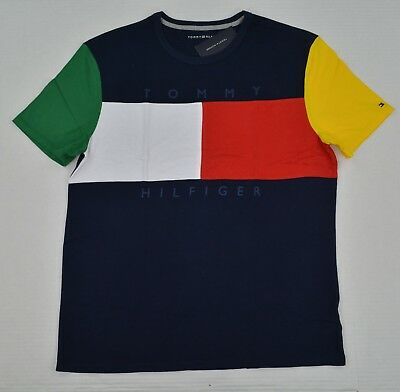 NWT Boy's / Youth Tommy Hilfiger Short-Sleeve Tee (T) Shirt Navy Color Block