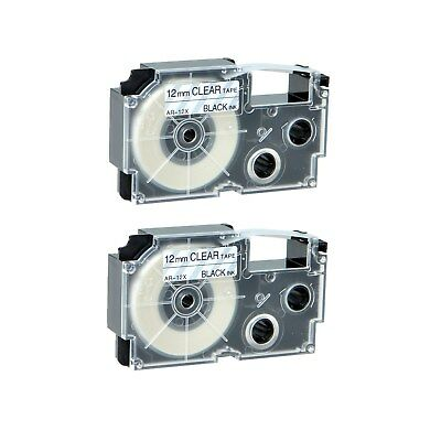 """2PK XR-12X Black on Clear Label Tape for Casio KL-780 750B 7200 1500 750BA 1/2"""""""