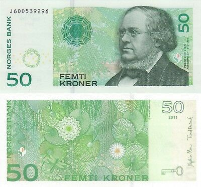 Norway 50 Kroner (2011) - Water Lillies and Dragonfly/p46d/Prefix J UNC