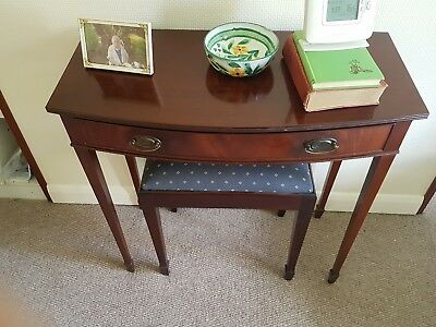 Antique style Regency mahogany console table, desk bow fronted and stool-compact