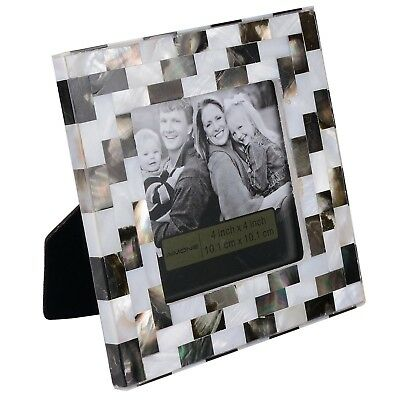 AIMONE Table Top Photo Frame 4 by 4-Inch Mother of Pearl Black and White Home
