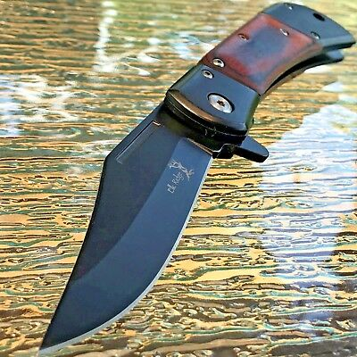 "ELK RIDGE 8.5"" WOOD SPRING ASSISTED FOLDING TACTICAL POCKET KNIFE Open Assist"