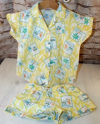 Vintage Health-Tex Girls' Shirt Short Set Size 4T Toddler Beach Button Down