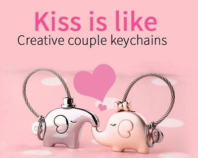 Valentine Day Gifts Cute Elephant Key Chain Keyring for Lovers Couple-GOOD