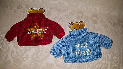 "2 NEW Teddy Bear Sweaters Knit Clothing Blue ""SNOW ANGEL"" Fits 10"" - 12"" Bears"