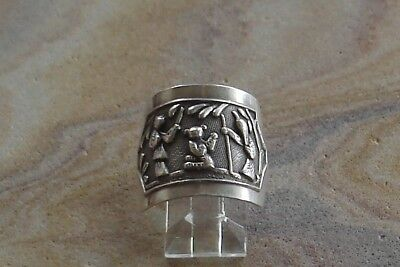 Old Antique Chinese Sterling Silver Opera Souvenir Repousee Ring ~ Size 8 1/2