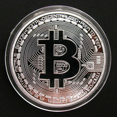 Plated Silver Round Bitcoin Coin Commemorative Collectors Coin Collectible Gift