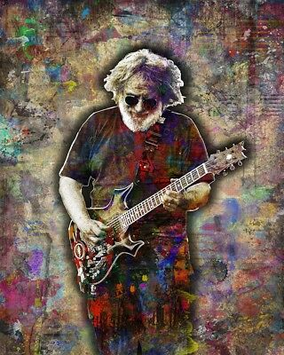 JERRY GARCIA Of The Grateful Dead Tribute Poster The Dead 16x20in Free Shipping