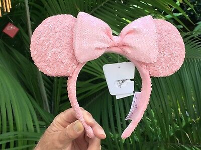 Disney Parks Minnie Mouse Pink Millennial Sequined  Ears Headband Ltd Release