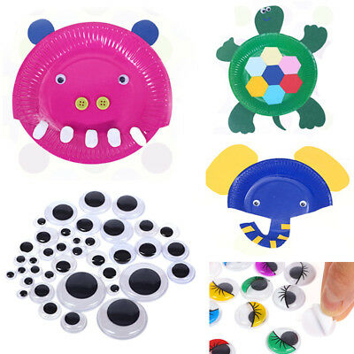 100 Googly Wiggly Wobbly Eyes SELF ADHESIVE Crafts NEW 6mm to 35mm