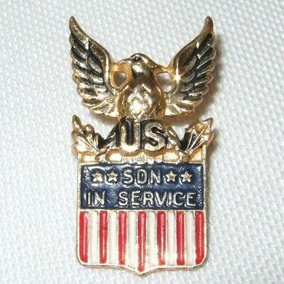 "Vintage CORO WWII USA U.S. ""SON IN SERVICE"" Lapel Pin Sterling Silver Gilt Eagle"