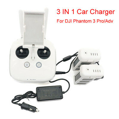 3 IN 1 Car Charger Battery Charging Adapter for DJI Phantom 3 Pro/Adv SE Drones