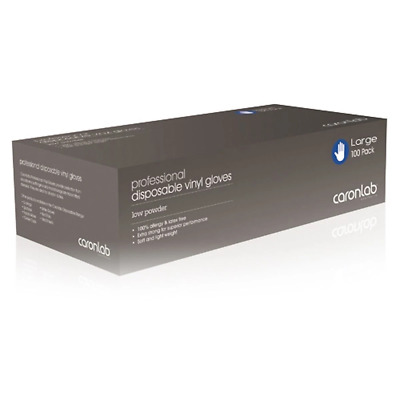 Caron Disposable Vinyl Gloves Low Powder Large 100 Pack High Quality Soft
