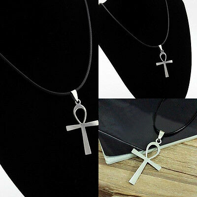 1x Round Leather Necklace Egyptian Ankh Cross Charms Pendant;