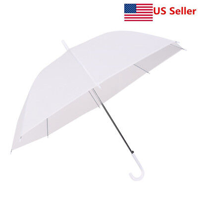 US Dome White Umbrella Large Clear Scrub Parasol Sun Rain Walking Wedding Party