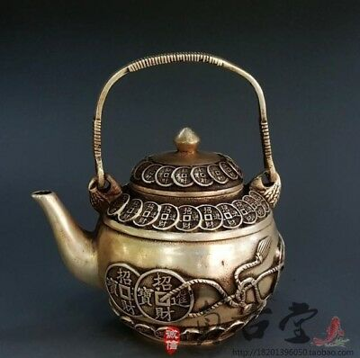 Collectible Old Handwork Miao Silver Carved Coin Wonderful Tea pot Flagon Kettle