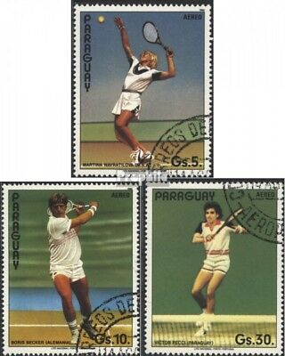 Paraguay 3962a-3964a (complete issue) used 1986 Tennis Players