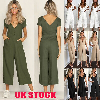 db993698a3d9 Womens Plunge V Neck Jumpsuits Lady Summer Holiday Beach Long Playsuits  Trousers