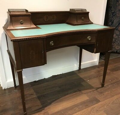 Edwardian Inlaid Mahogany Carlton House Desk. Serpentine Front. Open To Offers.