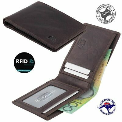Genuine Men's Rugged Hide Leather RFID Small Wallet Tan