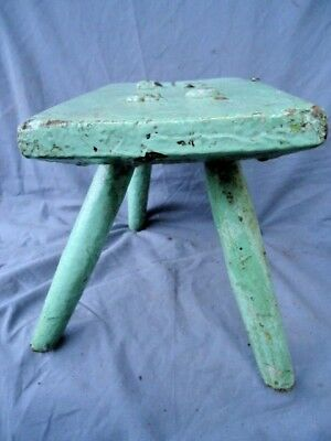 Small 19Th Century Stick Leg Stool, Later Painted