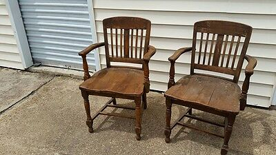 Two antique C.W.C chairs. City hall/courtroom chairs. Atlanta area (1880-1935)
