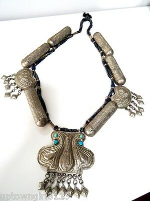 "HUGE TRIBAL NECKLACE 41"" rabari EXOTIC Ramari ETHNIC Rajasthan SILVER ORNATE"