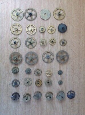 Antique Clock Cogs Clockmakers Selection From spare Parts Chest
