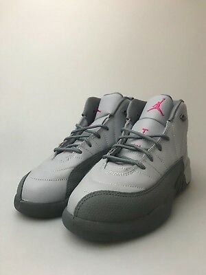 e5ab6b076f45 Preschool Jordan Retro 12 PS GP Wolf Grey Vivid Pink Cool 510816-029 XII  Girls