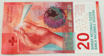 *One Swiss Switzerland New Design 20 Francs UNC Uncirculated Banknote Currency*