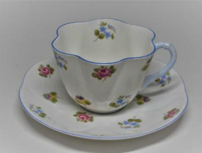 Vtg SHELLEY Bone China England ROSE Pansy Forget-Me-Not  #13424 Set Cup & Saucer
