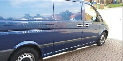 MERCEDES VITO W639  EXTRA  LONG VAN  STAINLESS STEEL SIDE BARS 4 STEPS 70 mm